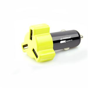 Mbeat Yellow 4.8A/24 Watt Triple Port Car Charger