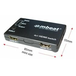 MBeat 4-Port Powered HDMI Switch With Remote Control