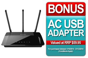 Picture of D-Link AC1900 Wireless Dual Band Gigabit Cloud Router + BONUS WIRELESS AC USB ADAPTER