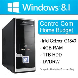 "Picture of Centre Com System ""Home Budget"" - Intel Celeron G1840 (2.8GHz,2MB Cache), 4GB RAM, 1TB HDD, DVDRW, Windows 8.1 Bing Licence(No Disc)"