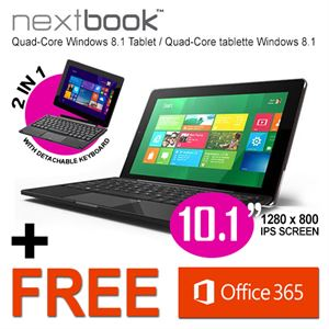 "10.1"" Nextbook Tablet PC, 32GB/Windows 8.1, Intel Quad Core with HDMI Output"