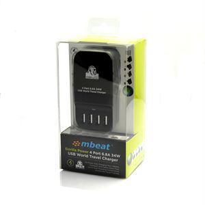 MBEAT Gorilla 4 Port USB With WorldWide Travel Adapters - 34W, 6.8A