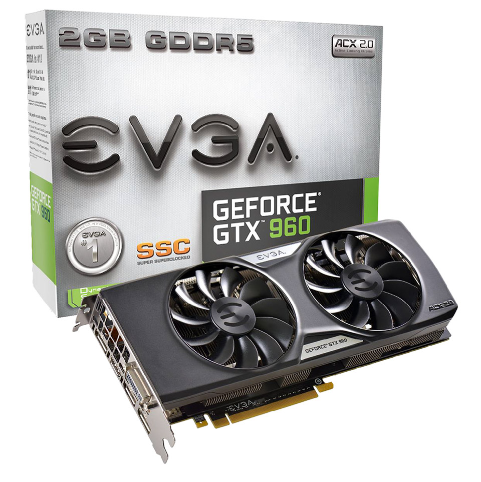 EVGA GeForce GTX 960 SSC 2GB GDDR5 Graphics Card With ACX 2.0 Cooler