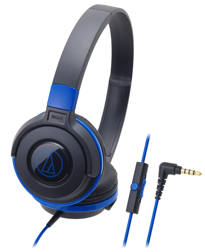 Audio-Technica ATH-S100IS Portable DJ Style Headphones With Mic - Blue