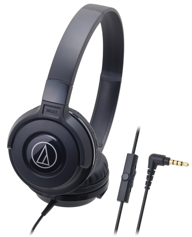 audio technica ath s100is portable dj style headphones with mic black ath s100is bk centre. Black Bedroom Furniture Sets. Home Design Ideas