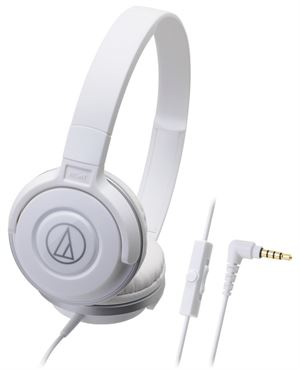Audio-Technica ATH-S100IS Portable DJ Style Headphones With Mic - White
