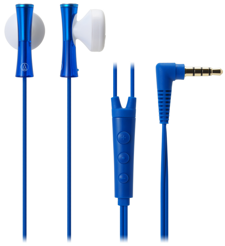Audio-Technica ATH-J100I Portable In-Ear Headphones With 3-Button Controls - Blue