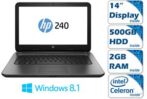 "HP 240 G3 - 14"" HD LED Display, Intel Celeron N2830 2.16GHz, 2GB RAM, 500GB HDD, WirelessLAN + Bluetooth Combo, Windows 8.1 64Bit Bing, 1 Year Warranty - No DVD/Optical"