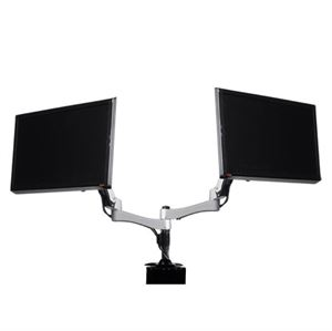 Silverstone Technology Silver Two Arm Dual LCD Monitor Stand