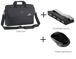 "Targus Laptop Starter Pack - Includes 15.6"" Topload Case, 4-Port USB Hub and Compact Wireless Mouse"