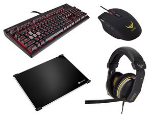 Corsair Gaming Peripherals Bundle! - Corsair Strafe - Cherry Red Switches, Corsair Sabre RGB Optical Mouse, Corsair H1500 Gaming Headset & Corsair Gaming MM600 Mousepad