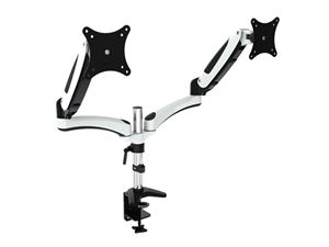 "VisionMounts Aluminium Dual Monitor Arms With Desk Clamp & Gas Spring - Supports up to 27"" Monitors"