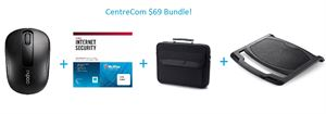 Centre Com Bundle $69 Bundle! - Wireless Mouse + Internet Security + Notebook Carry Case + Notebook Cooler!