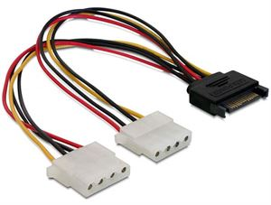 Alogic 20cm Sata Male to 2x Molex Female Power Cable - S2M-ADP