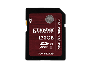 Kingston 128GB SDXC/SDHC UHS-I U3 Class 3 SD Card - SDA3/128GB