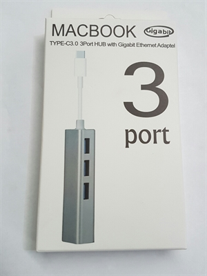 Goldwire Type C 3.0 to 3 Port USB 3.0 Hub + Gigabit Ethernet Port - Silver