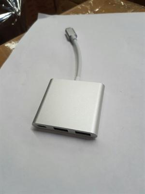 Goldwire USB Type C 3.1 to 2 Port USB 3.0 + Type C Port Hub - Silver