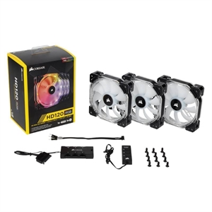 Corsair HD120 PWM RGB LED 120mm Fan - 3-Pack with Controller