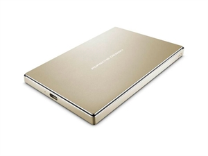 LaCie Porsche Design 2TB USB 3.0 Type-C Portable Hard Drive - Gold