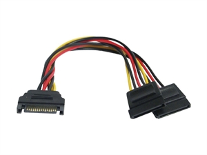 Male to Female SATA 15 pin Double Adaptor Power Cable