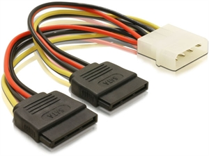 Alogic 20cm Molex to 2x Sata Power Cable - S2M-ADP