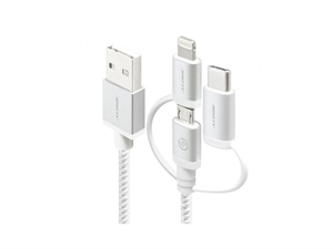 Alogic 1m Prime Series 3-in-1 Charge & Sync Cable - Silver