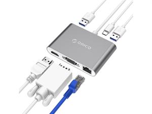 ORICO Aluminum Type-C to VGA/HDMI/RJ45/Type-C PD /Type-A Adapter - Grey