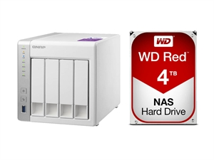 QNAP 4 Bay TS-431P NAS + 16TB (4 x 4TB) WD Red NAS HDD Bundle