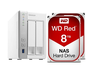 QNAP 2 Bay TS-231P NAS + 16TB (2 x 8TB) WD Red NAS HDD Bundle