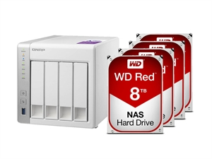 QNAP 4 Bay TS-431P NAS + 32TB (4 x 8TB) WD Red NAS HDD Bundle