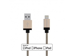 Mbeat 2m Lightning Cable with Nylon Braided - Gold